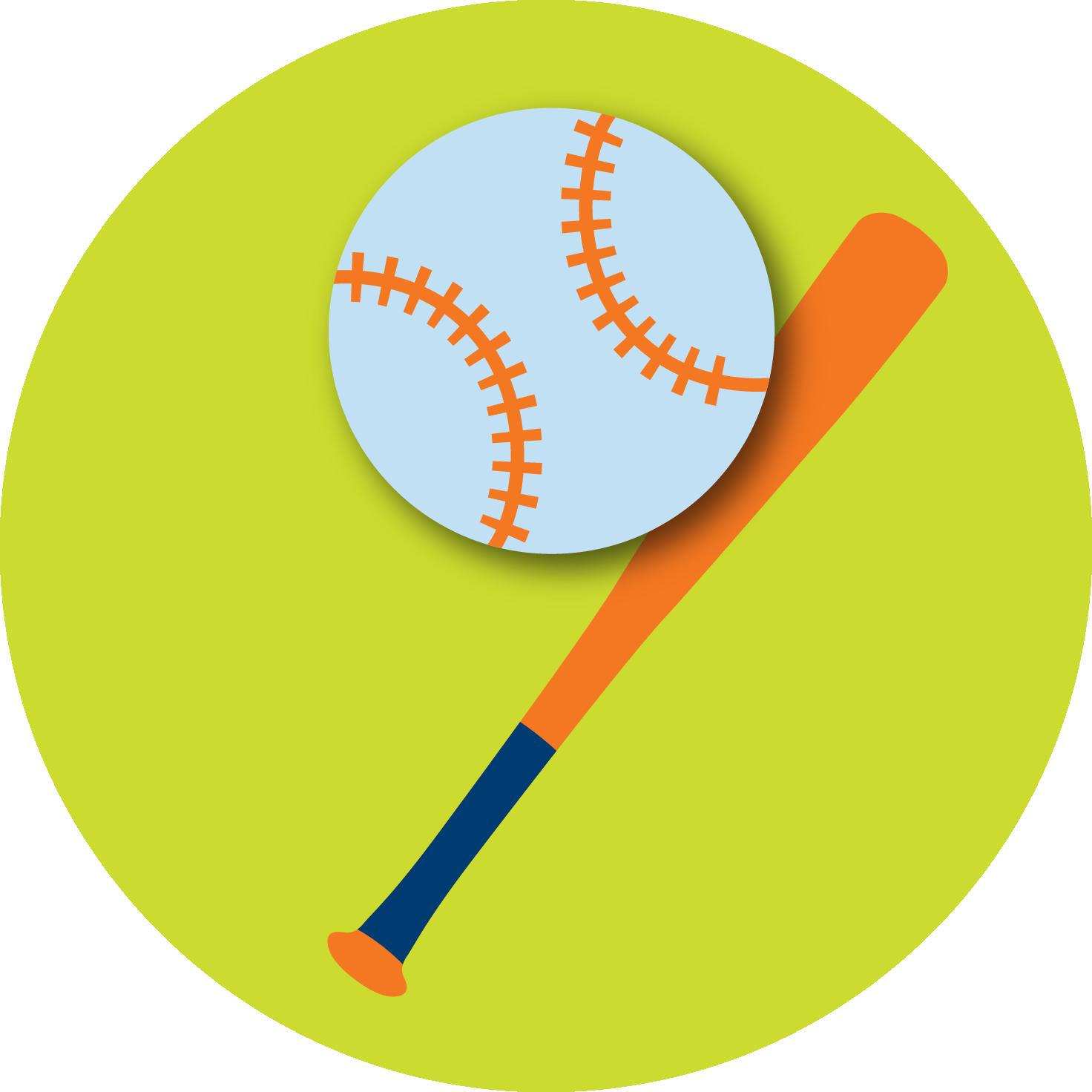 A baseball and a baseball bat.