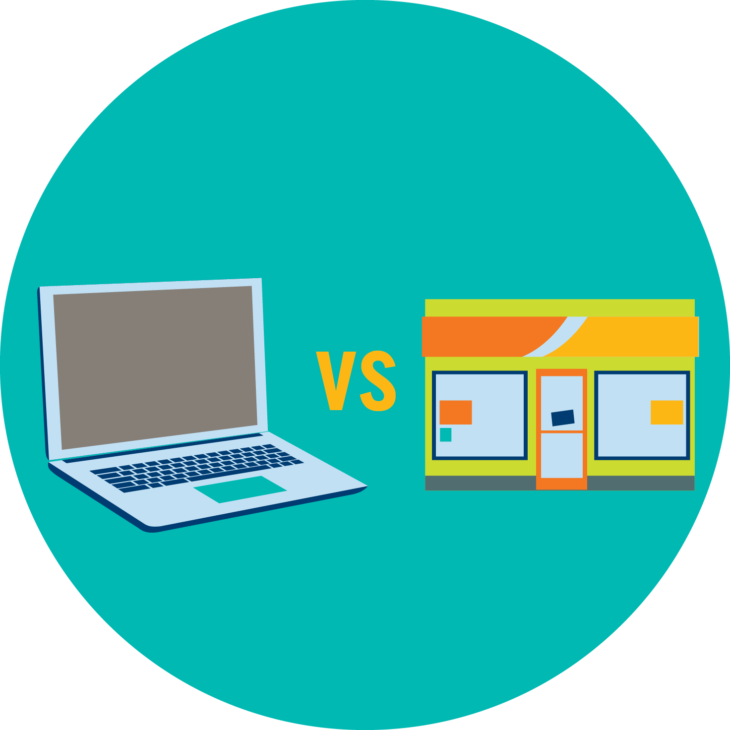 A laptop is shown versus a store, signifying a comparison between online and retail sports betting.