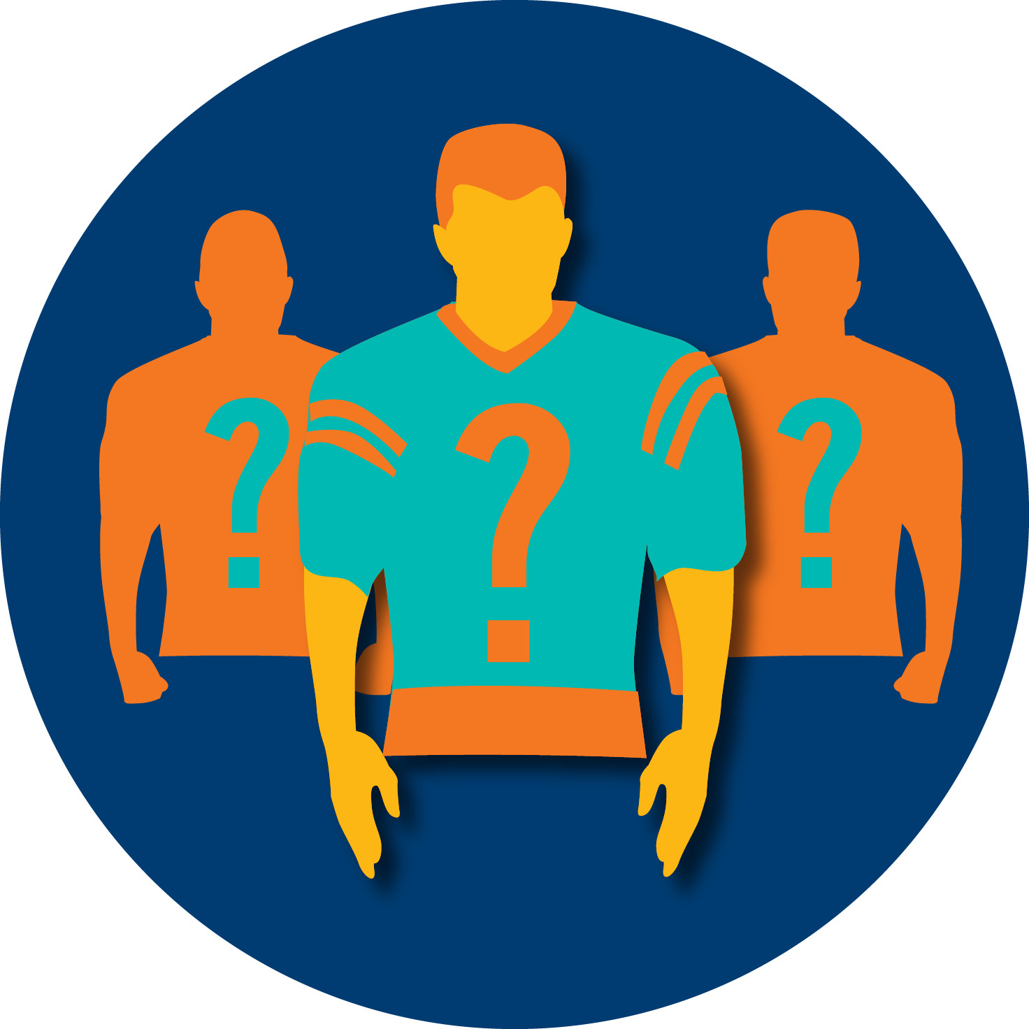 A football player is shown with two silhouettes with question marks on each side, signifying that there is no certain way to predict a winner in sports.