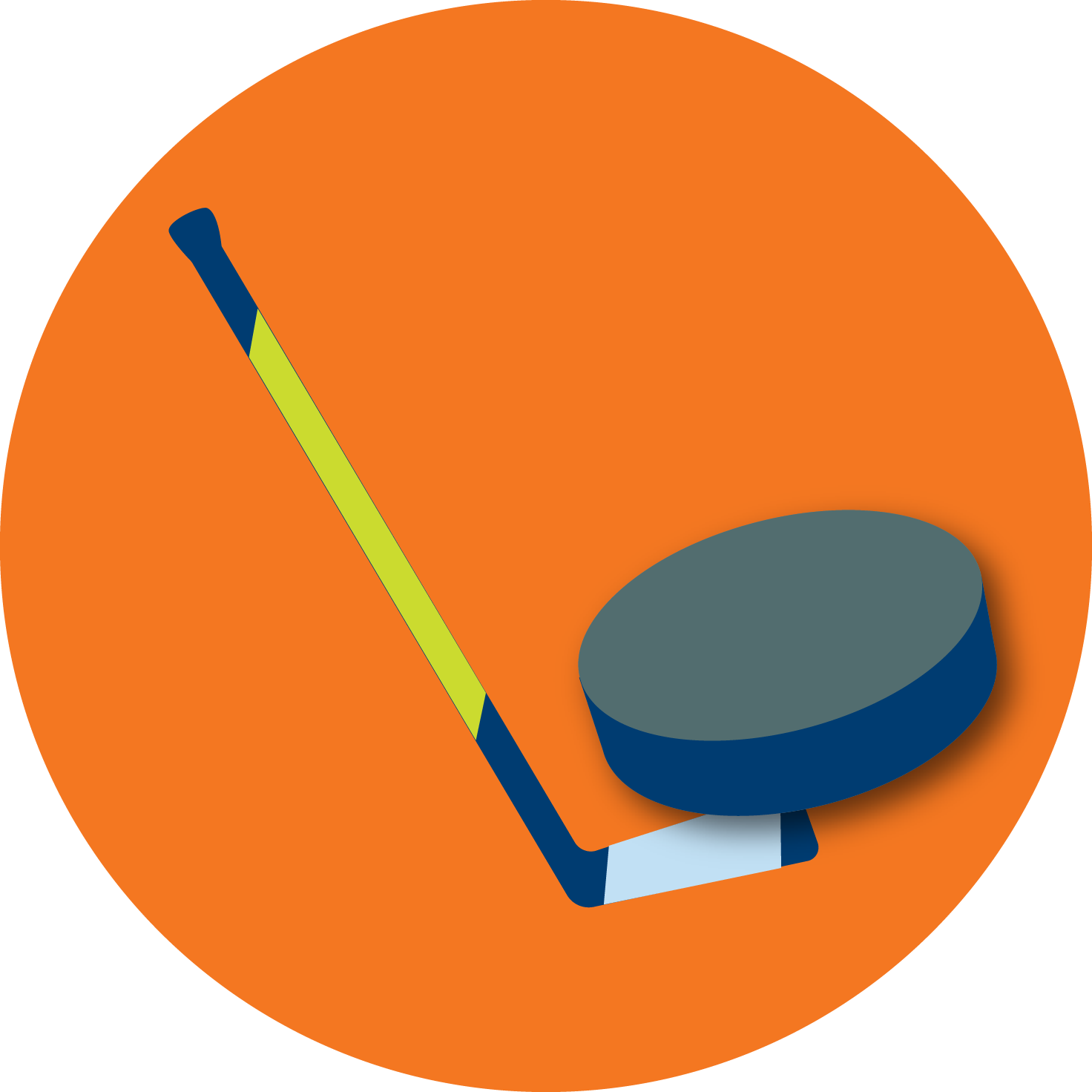 A hockey stick and puck.