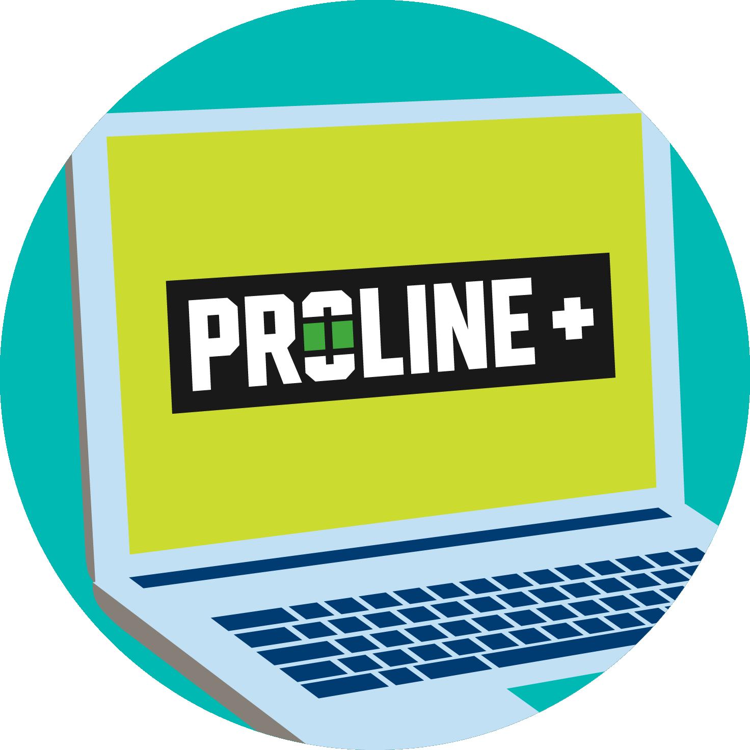 A laptop screen displays the PROLINE+ logo