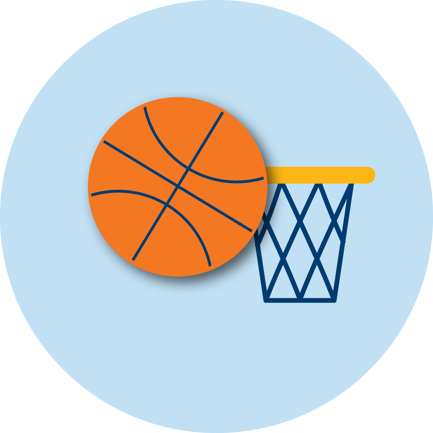 A basketball and a net.
