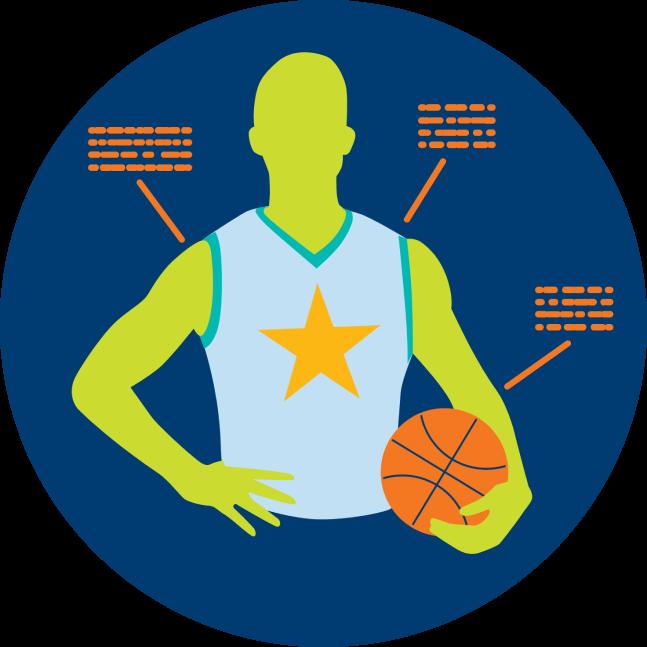 Une image montre un joueur de basketball entouré de statistiques.
