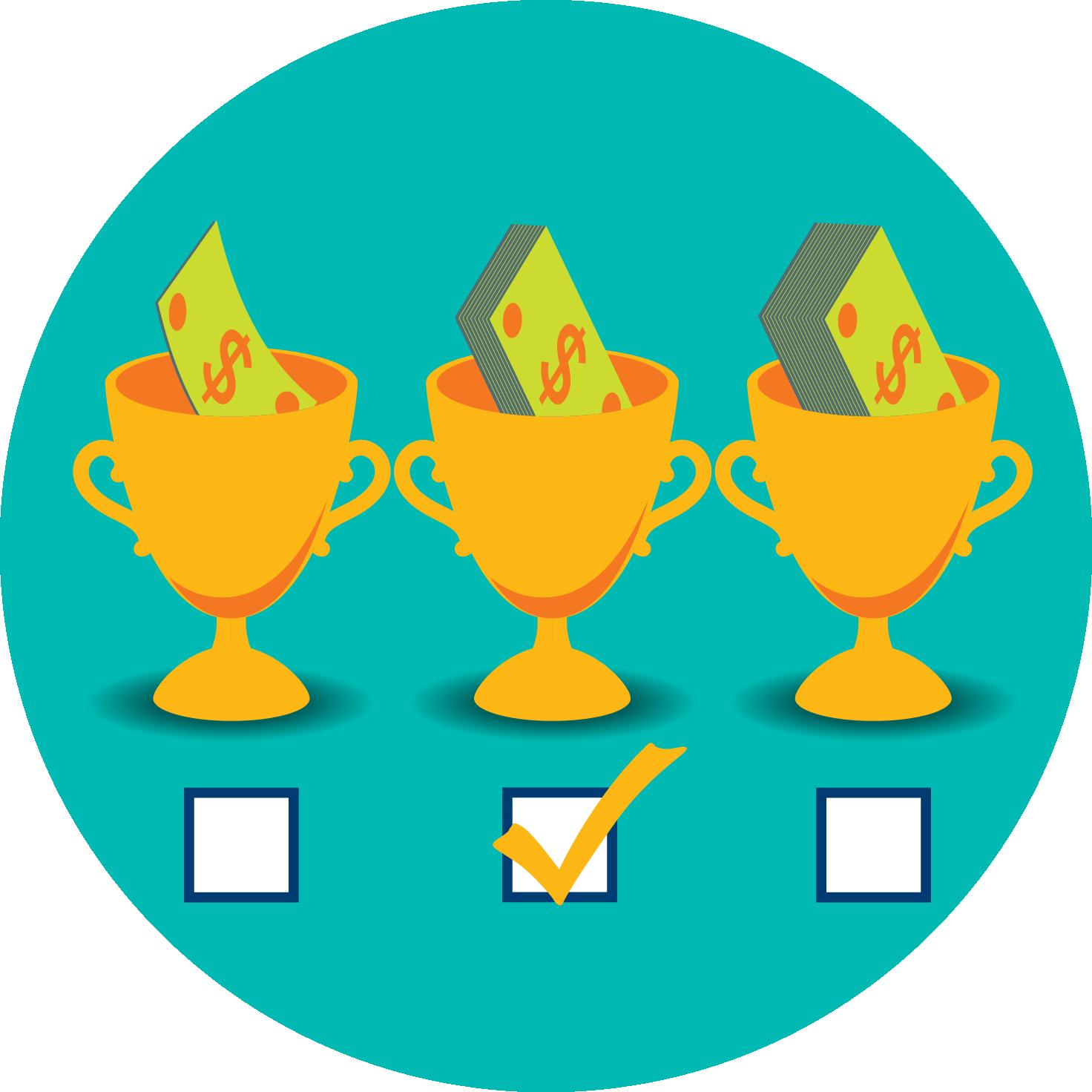 所示为三座奖杯,表示不同等级的派彩。在每个奖杯下方都有一个选项,其中中间中奖限额被勾选。