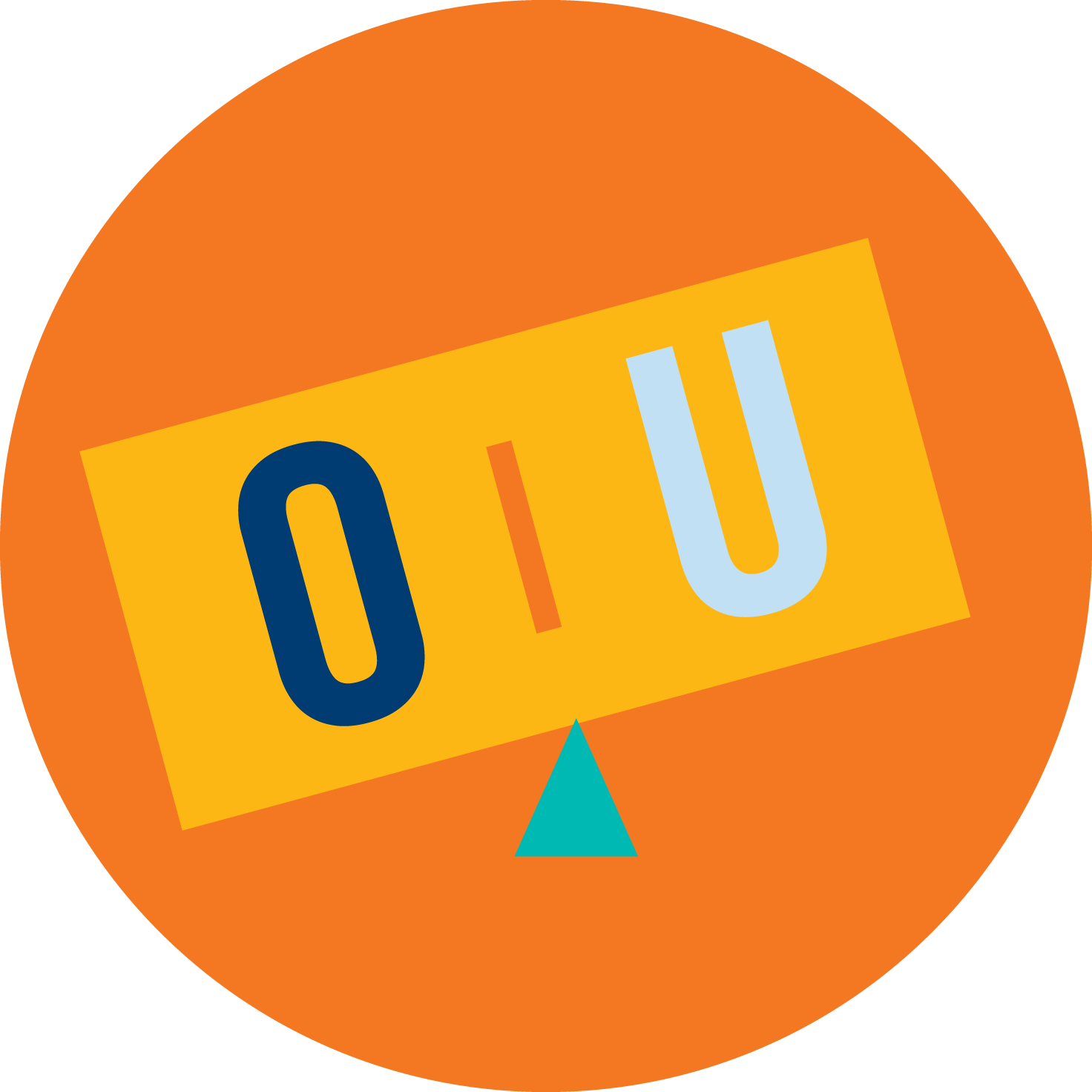 A balancing scale is shown with an 'O' outweighing the 'U'.
