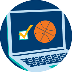 A laptop screen displays a checked box to the left of a basketball, representing a player choosing a sport and league.
