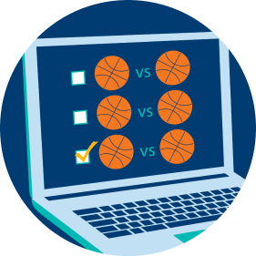 A laptop displays three rows of boxes alongside three rows of basketball icons versus basketball icons, signifying the different events or games a player can choose. The third check box is checked off.