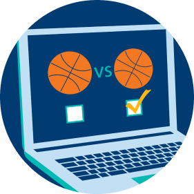 A laptop displays a basketball icon vs. another basketball icon. Below the icons are two check boxes, with the right box checked off. This represents the market that the player is choosing.