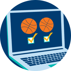 A laptop displays a basketball icon vs. another basketball icon. Below the icons are two check boxes, with both checked off, signifying players can make more than one bet at a time.