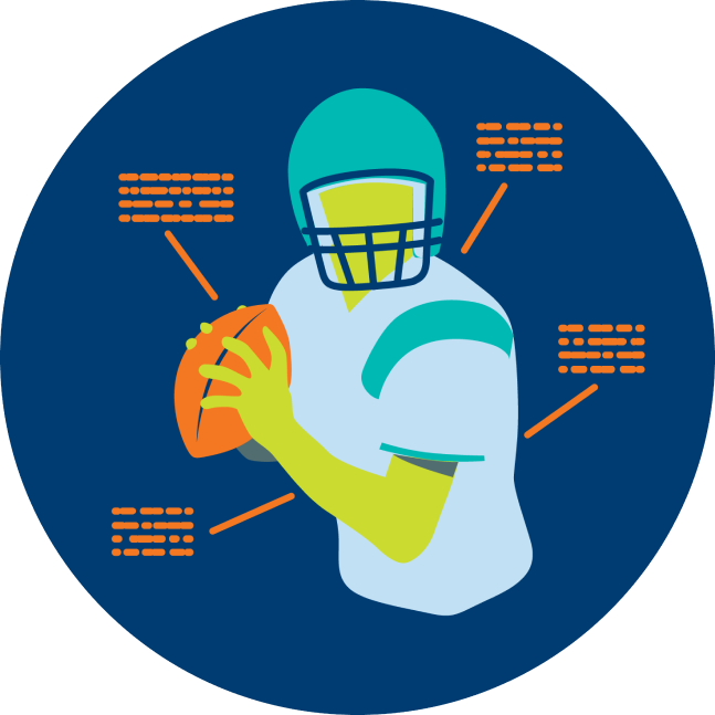 A football player is shown with stats around the athlete.