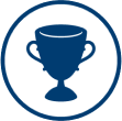 A trophy is shown signifying the winning team.