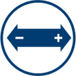 An arrow stretching either way is shown with a plus sign on the right and a negative sign on the left, signifying the Point Spread.