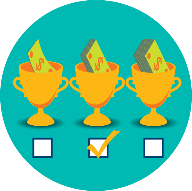 Three trophies are shown with varying levels of payouts. Underneath each trophy is a checkbox with the middle win limit selected.