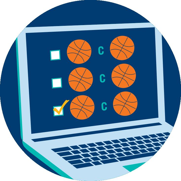 Écran d'ordinateur portable affichant trois rangées de cases à côté de trois rangées d'icônes ballon de basketball en opposition à d'autres icônes ballon de basketball, représentant les différents événements ou matchs qu'un joueur peut choisir. La troisième case est cochée.