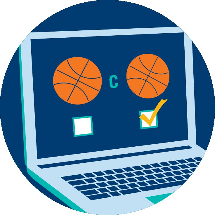 Écran d'ordinateur portable affichant une icône ballon de basketball en opposition à une autre icône ballon de basketball. En-dessous il y a deux cases; celle à droite est cochée, représentant le type de mise choisi par le joueur.
